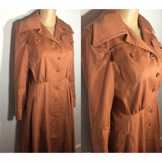 1960s /// Salmon Pink Long Trench Coat Small - image 3
