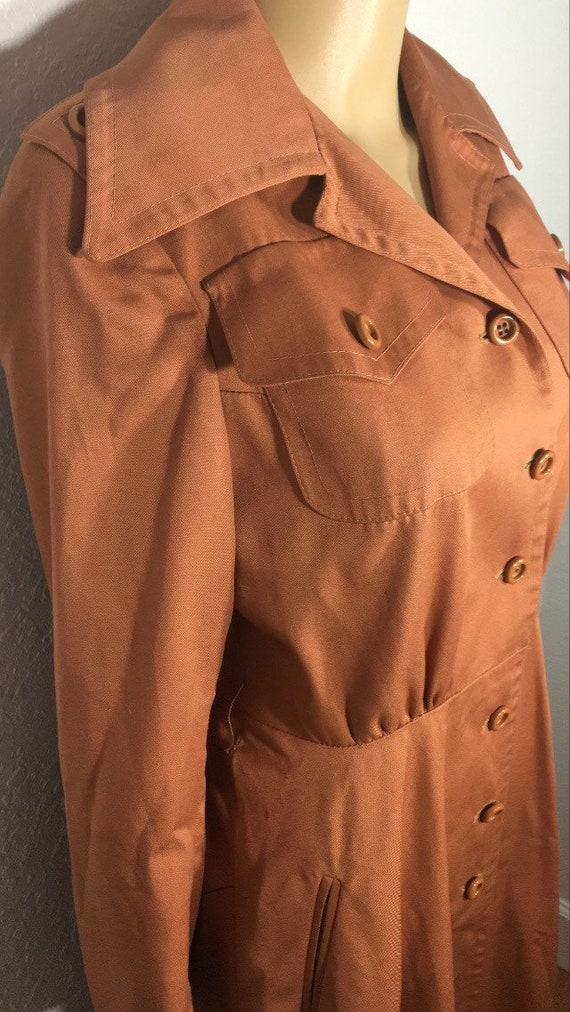 1960s /// Salmon Pink Long Trench Coat Small - image 6
