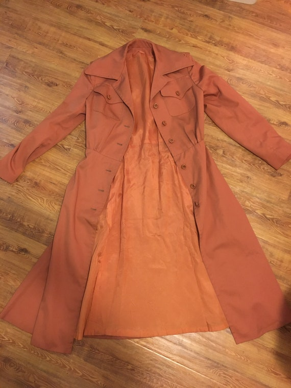1960s /// Salmon Pink Long Trench Coat Small - image 8