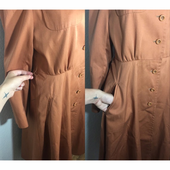 1960s /// Salmon Pink Long Trench Coat Small - image 4