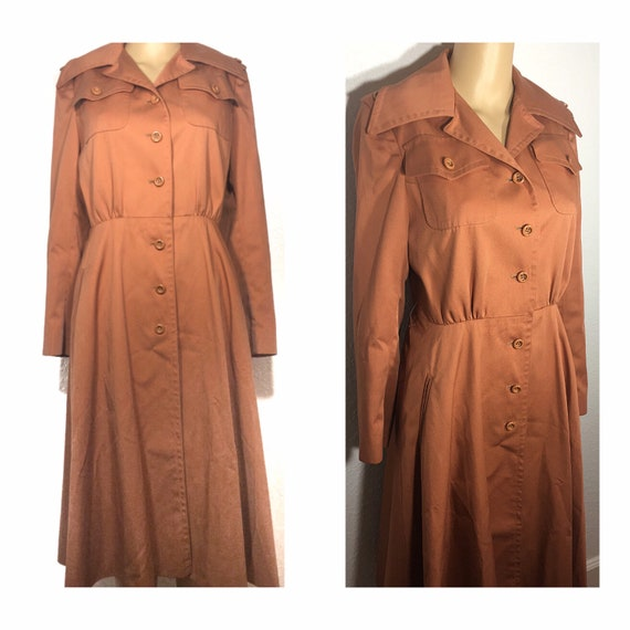 1960s /// Salmon Pink Long Trench Coat Small - image 1