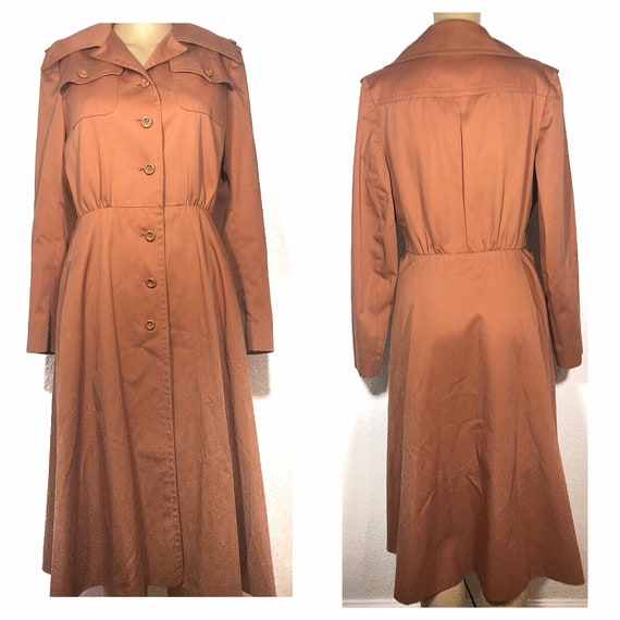 1960s /// Salmon Pink Long Trench Coat Small - image 5