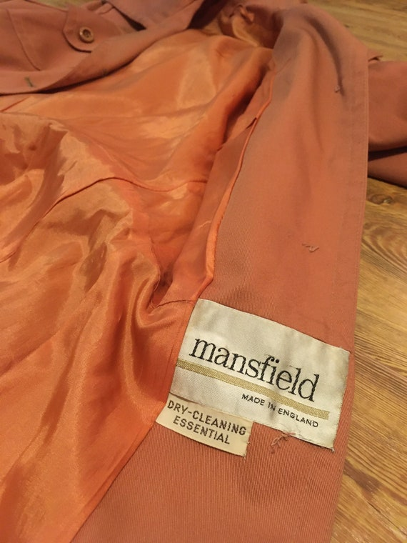 1960s /// Salmon Pink Long Trench Coat Small - image 10