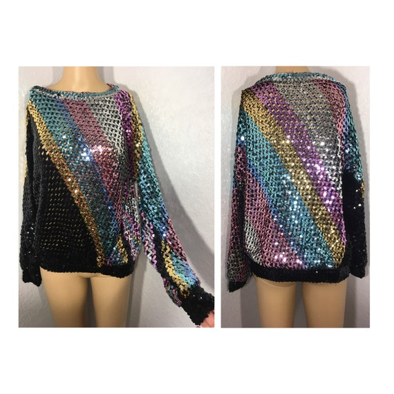 1980s Extravagant Full Sequins Rainbow Sweater M