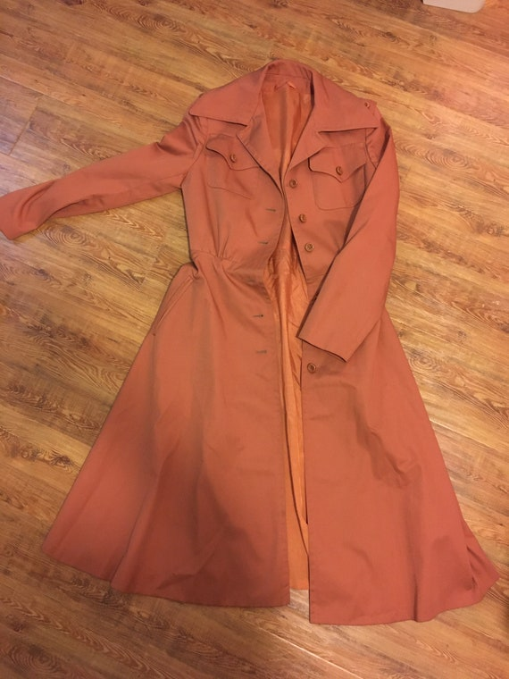 1960s /// Salmon Pink Long Trench Coat Small - image 2