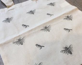 Hand Printed Reusable Cotton Tote Bag - Birds and Bees