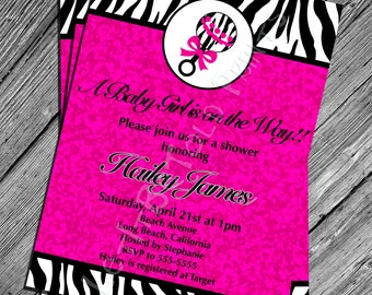 Zebra print baby shower invitation for girl etsy digital pink zebra print baby shower invitation printable shower invitation filmwisefo