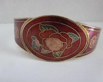 Vintage Enamel Cloisonne Cuff Bracelet/Red Rose/Butterfly  (#16023)