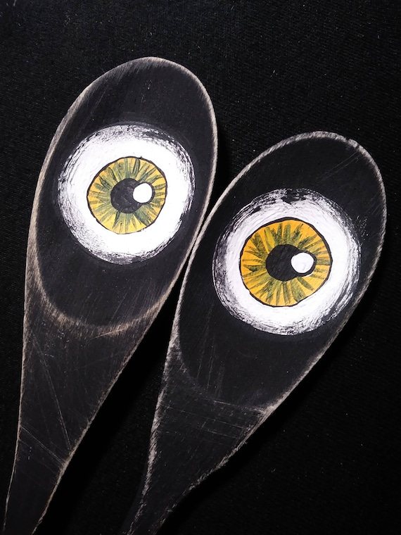 Clearance Set Of 2 Creepy Eye Hand Painted Wooden Spoons Etsy