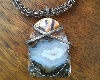 Custom Blue Lace Agate with Citrines in Viking style Sterling setting and Viking Knit chain.g