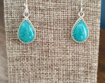 Bright aqua AAA Amazonite pear earrings