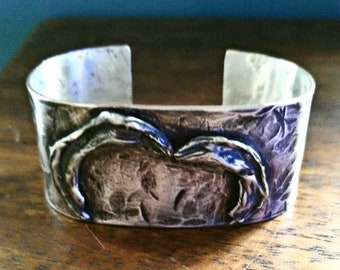 Brutalist silver hammered cuff bracelet