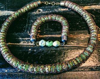 Viking knit necklace with Unakite or Serpentine beads (bracelet sold)