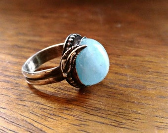 High dome aquamarine Sterling silver ring size 7