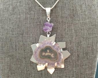 Amethyst flower in Modern Sterling silver pendant