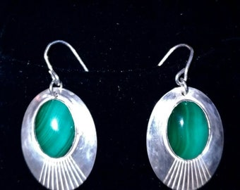 Sterling and Malachite stud earrings