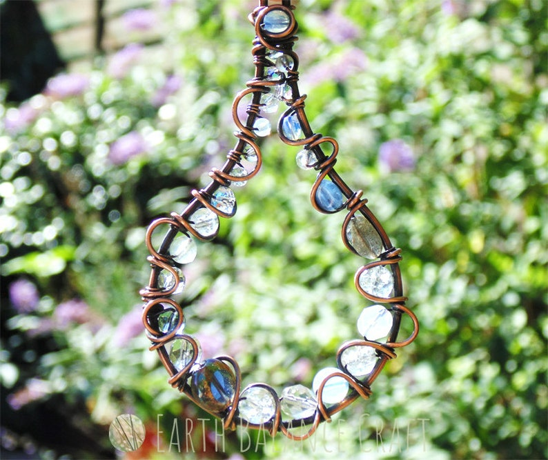 Rain Drop Designs Weather Ornament Copper Wire Rain Drops Raindrop Suncatcher Crystal Gift Gemstone Decor