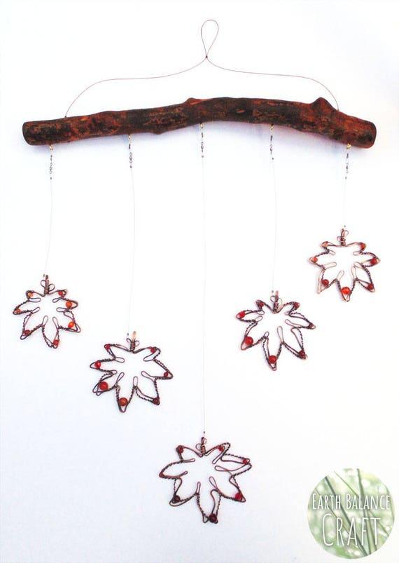 Japanese Maple Leaf, Real Wood Decor, Canada Leaf, Copper Wire Work, Leaf  Hanging Mobile, Autumn Art