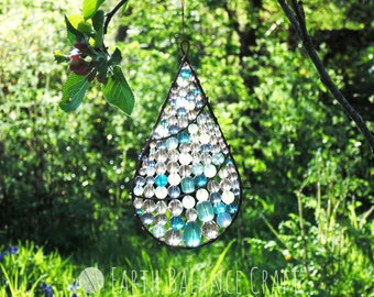 Crystal Suncatcher, Dewdrop Decor, Garden Ornament, Rain Drop Gifts, Glass Window Art, Water Droplet, Copper Wire Work, Crystal Chandelier