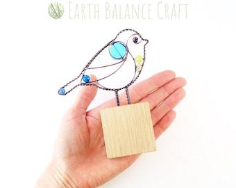 Blue Tit Desk Ornament, Garden Bird Gifts, Free Standing Decor, Glass Blue Tit Suncatcher, Metal Birds, Bird Sculpture, English Birds
