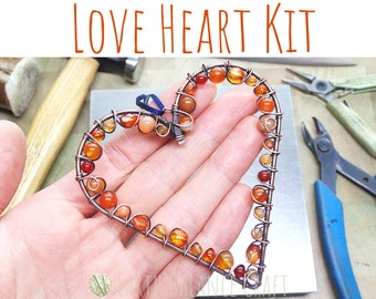 Love Heart Craft Kit WITH TOOLS, Copper Wire Work, Beginner Wire Project, DIY Gift Box, Adult Craft Kit, Gift for Women, Make Your Own