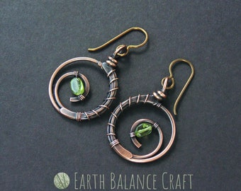 Peridot Earrings, Gift for Women, Lime Green Jewellery, Circle Earrings, August Birthstone, Gemstone Earrings, Hoop Jewelry, Peridot Stone