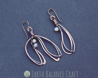 Mistletoe Earrings, Nature Jewellery, Copper Wire Work, Yule Earrings, Plant Jewelry, Leafy Earrings, Christmas Earrings, Minimalist, Dangle