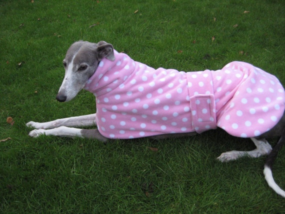 Greyhound Coat Fleece Babypink with Spots