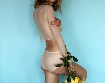 Champagne Rose Mesh Turtleneck and Panty Set