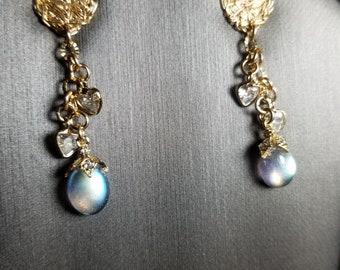 Labradorite post earrings