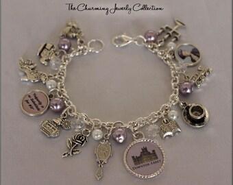 Downton Abbey fan Jewelry Bracelet, Dowton Abbey Lavender and white beaded charm bracelet, Lady Violet inspired, Downton Abbey Gift, Downton