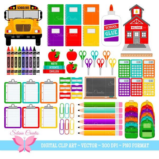 Back to School Clipart Set School Supplies Clipart Set | Etsy