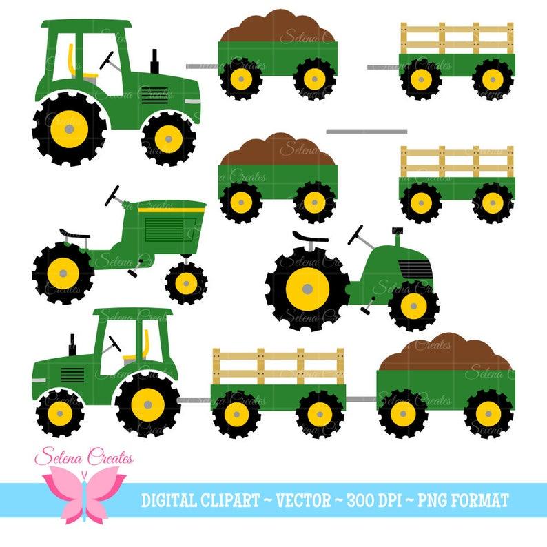 Tractor Clipart Set Green Tractors Vector Png Format Etsy