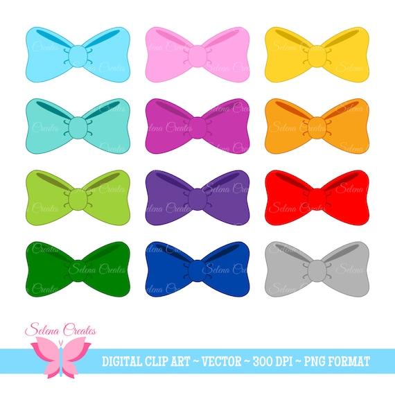 Hair Bow Clipart Set Digital Clipart Bows Bow Tie Vector Etsy