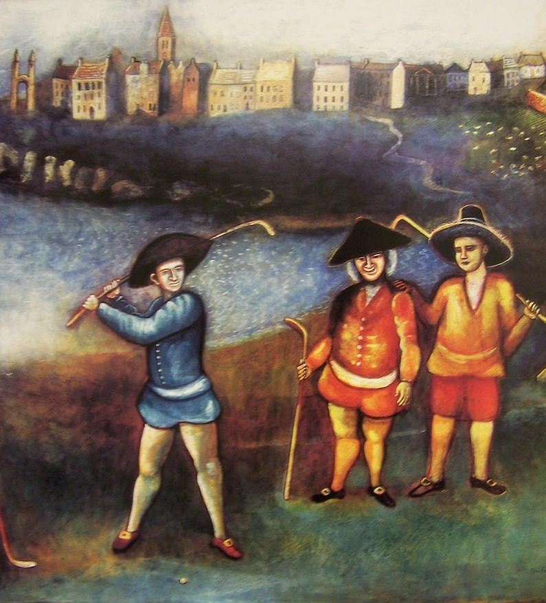 EARLY SCOTTISH GOLF Andrews 1680/' by Michael McVeigh Large Scottish Artist  Print /'Golfers On The Links At St