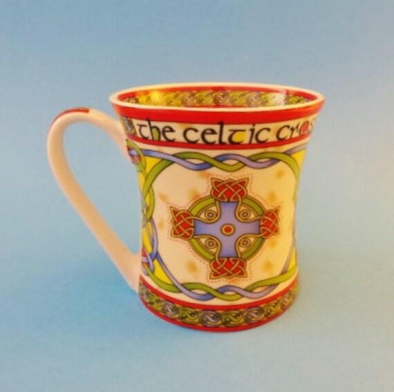 CELTIC CROSS MUG - Colorful Bone China Mug in New, Unused Condition -  Dishwasher & Microwave Safe