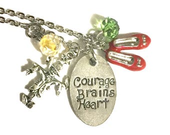 Wizard of Oz Necklace, Courage Brains Heart Pewter Tag with Ruby Red Slippers, Book Lover Gift, Ruby Slippers Charm, Scarecrow Tin Man Lion
