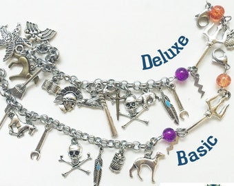 Heroes of Olympus Charm Bracelet, Trident Jewelry, Greek Mythology Jewelry, Percy and Annabeth Bracelet, Book Lover Gift, Geekery, Fandom