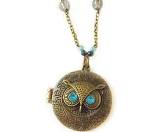 Mark of Athena Owl Locket Necklace, Percy Annabeth Chase inspired, Greek Mythology, Geeky, Trendy Animal Jewelry, Statement Necklace