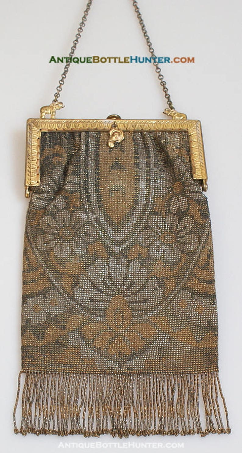 ab2de95808c ELEPHANT Antique Beaded PURSE Embroidered w/ Mirror Fob Ornate | Etsy