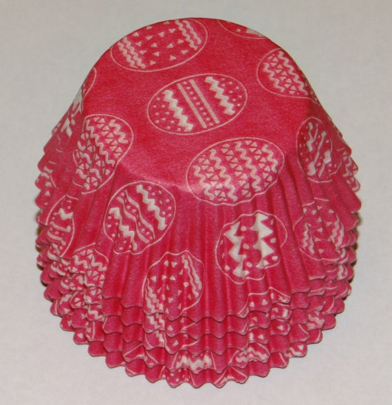 FREE SHIP! in USA Hot Pink with White Easter Eggs  Baking Cups Approximately 100 Cups.