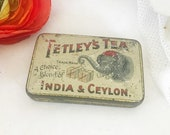 Rare Antique Tetley Tea Tin Litho Box, Sample Size, Elephant, Decorative, Advertising Canister, kitchen storage decor, retro, spice