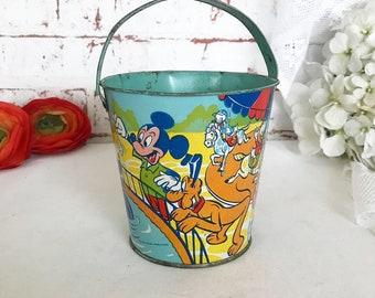 dcf5fe64c2d RARE Antique Mickey Mouse Tin Litho Sand Pail Beach Bucket toy