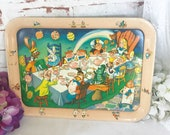 RARE Antique Tin Litho Alice in Wonderland Tray, Vintage Tea Party Mad Hatter 39 s Serving Platter Walt Disney child 39 s Toy, retro Metal, kitsch