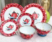 6 piece Mid Century Ohio Art Tin Litho Garden Tea party set, Red Teapot, Co Bryan, Metal Tea Set Cups, dishes, Plates Lot Toy, retro