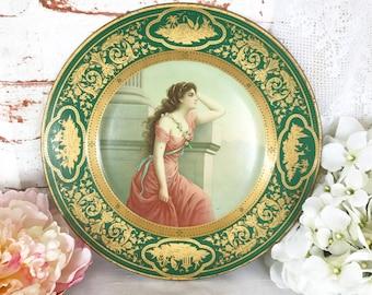 Stunning Antique Art Nouveau Dresden Art Plate, Ariadne 201, Portrait Tin Litho, Lady Woman, Meek Co. Green, Hanging wall art, metal