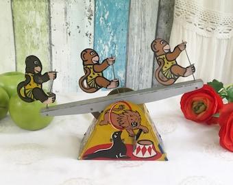 Rare Antique Circus Seesaw Monkeys Wind-Up Tin Litho Toy, Lewco, Carnival, Clown, retro, kitsch, kid, children, nursery décor decorative