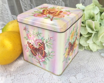 Vintage decorative Butterfly Tin Box, Daher, England, Pink, Canister, Confections basket  Biscuit / tea tin kitchen, shabby chic, hinged lid