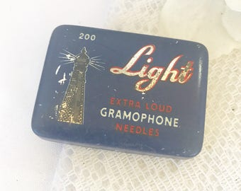 Antique Lighthouse Light Gramophone Needles Tin Litho Box, Vintage advertising record needles decorative case, victrola phonograph, Art Deco