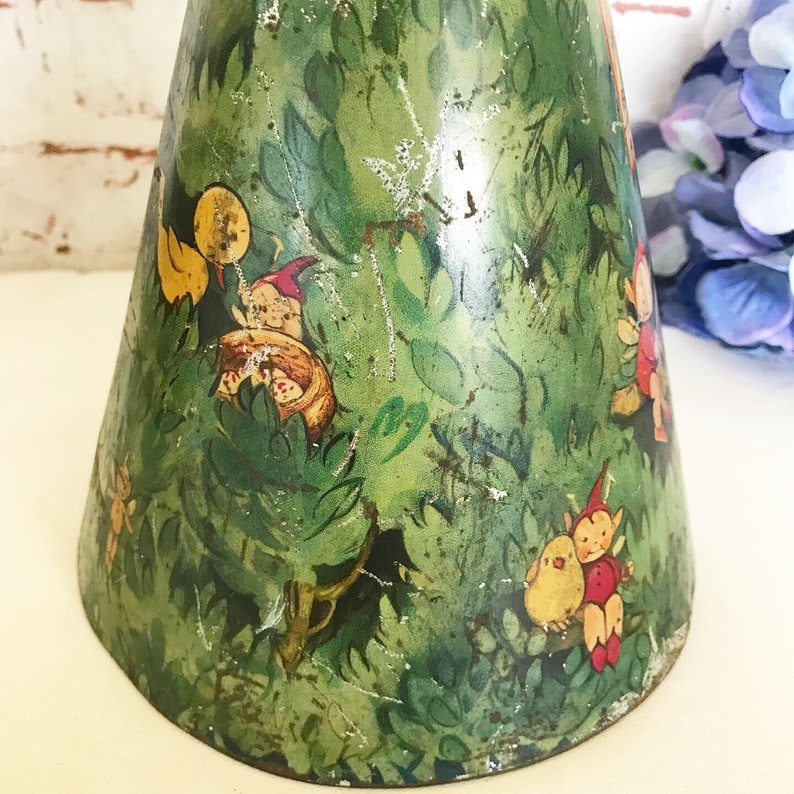 retro Rare Antique Fairy Tree Tin Litho Money Box Mabel Lucy Attwell Vintage Bank William Crawford Biscuit canister rustic primitive